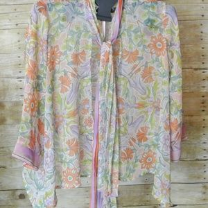 INVESTMENTS Open Print Kimono S Floral Sheer
